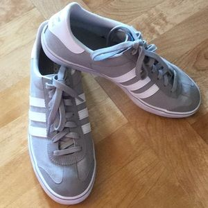Light gray and white men s Adidas shoes size 9.5